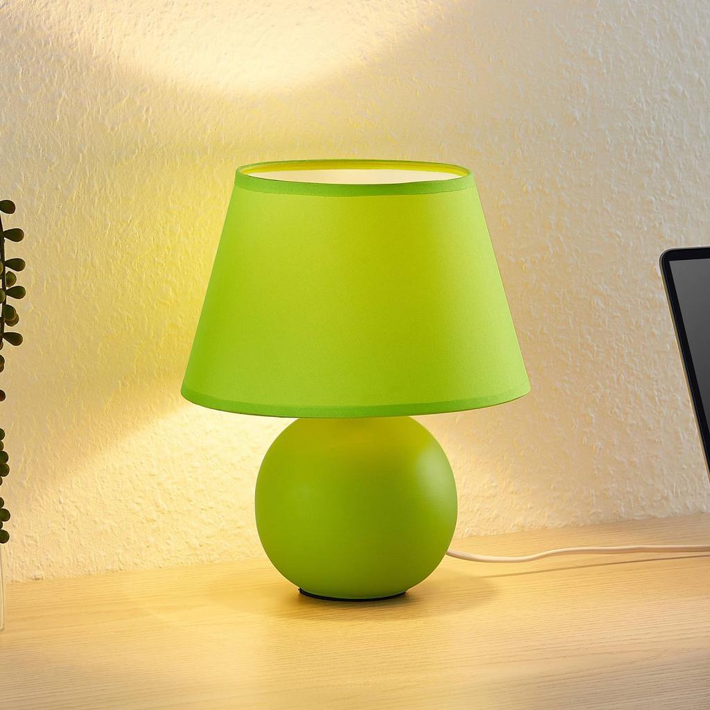 Produktové foto Lindby Lindby Calliota látková stolní lampa kulatá zelená