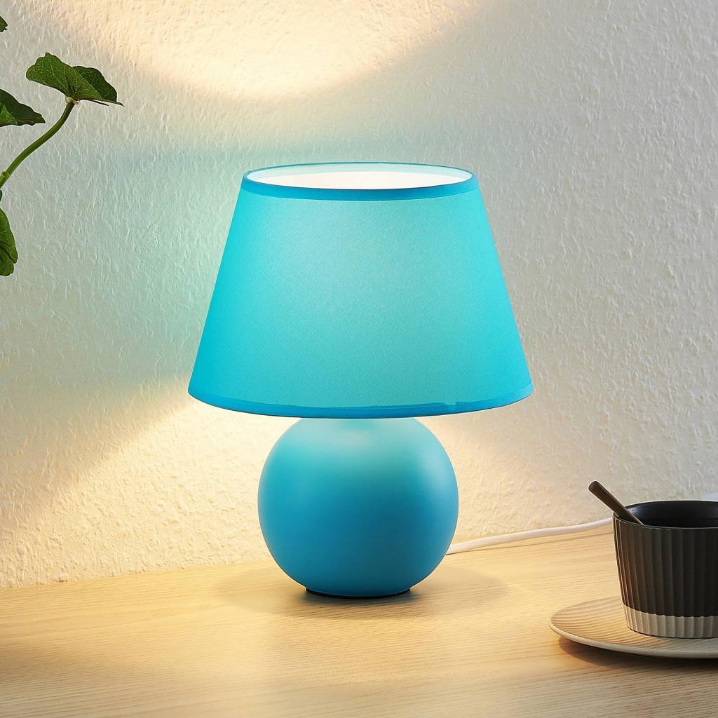 Produktové foto Lindby Lindby Calliota látková stolní lampa kulatá, modrá