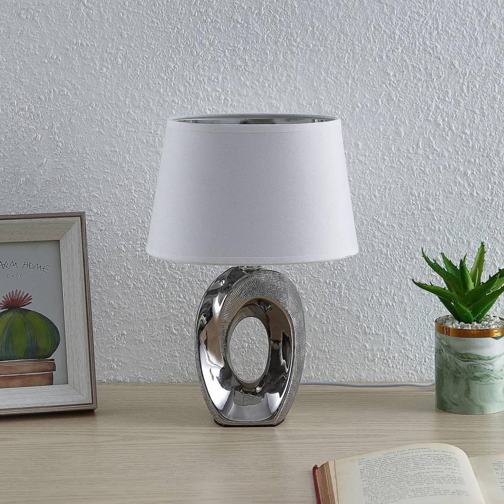 Produktové foto Lindby Lindby Alenja stolní lampa z keramiky a tkaniny