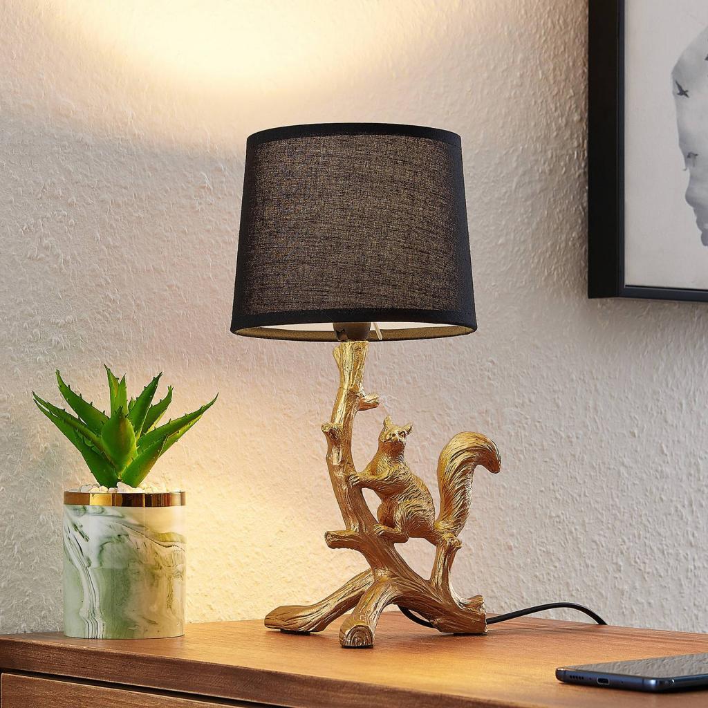 Produktové foto Lindby Lindby Squira stolní látková lampa, černo-zlatá