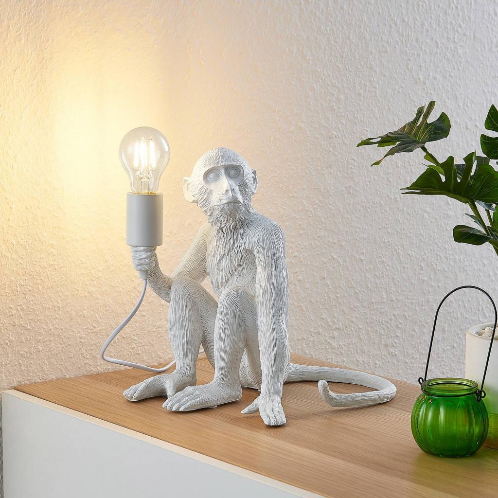 Produktové foto Lindby Lindby Monki stolní lampa ve tvaru opice, bílá