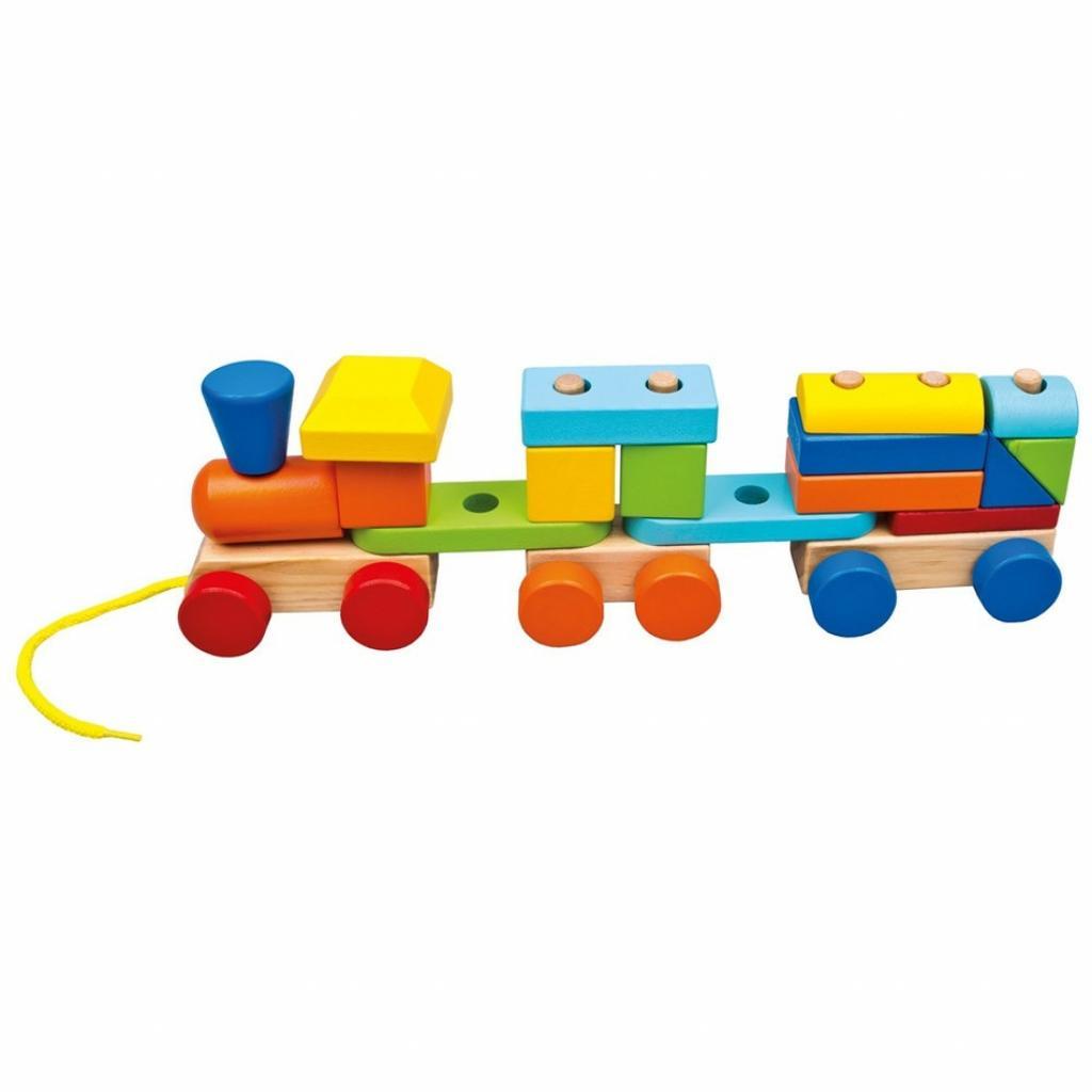Produktové foto Bino Barevný vláček se dvěma vagóny