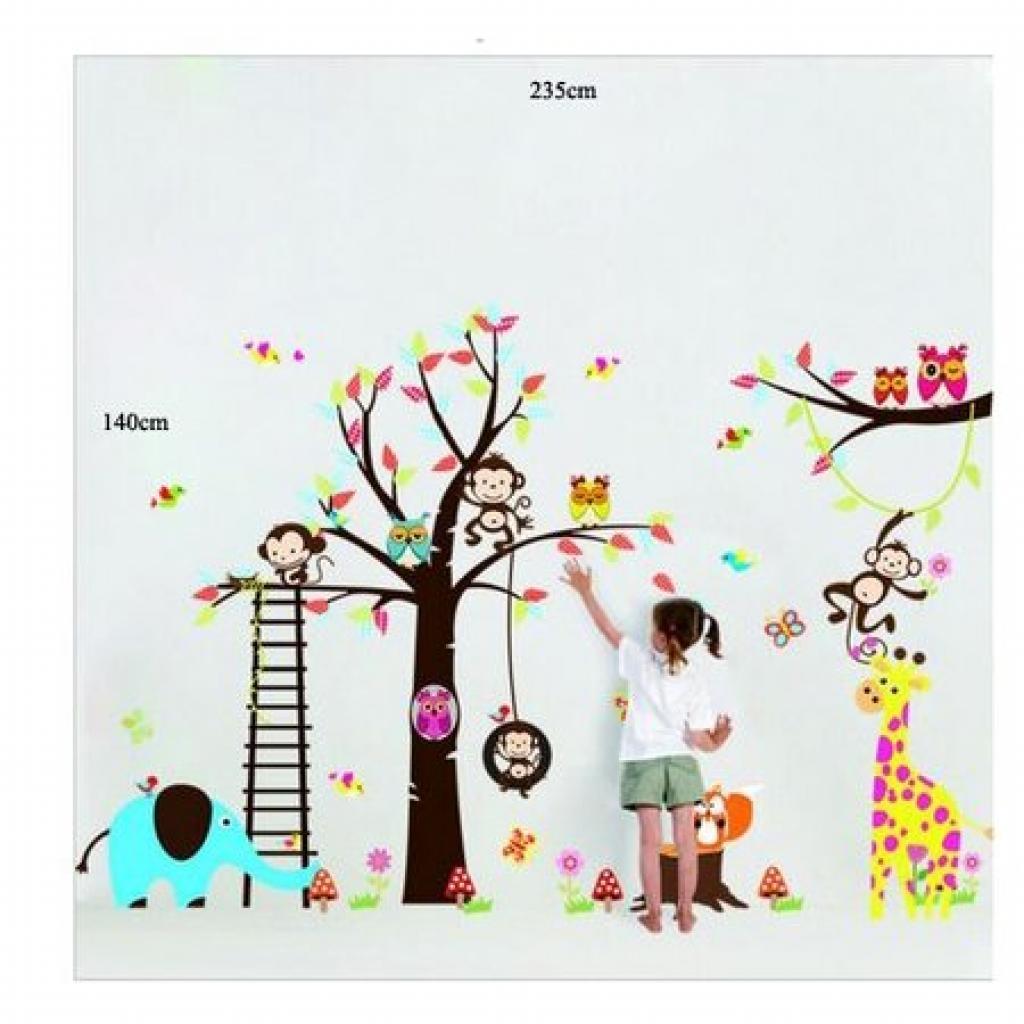 Produktové foto Samolepka na zeď Samolepka pohádkový strom sovičky, opice