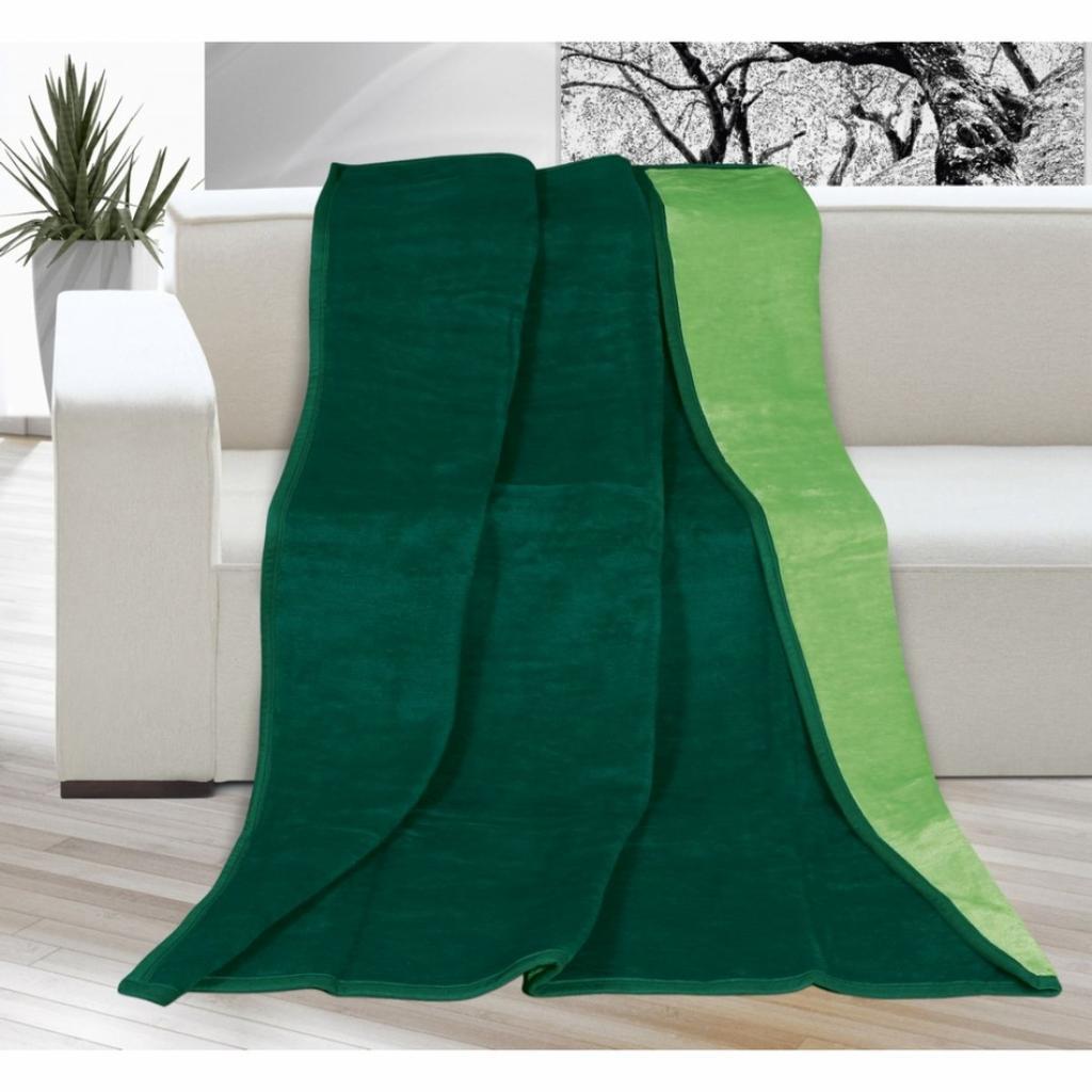 Produktové foto Bellatex Deka Kira tmavě zelená/zelená, 150 x 200 cm