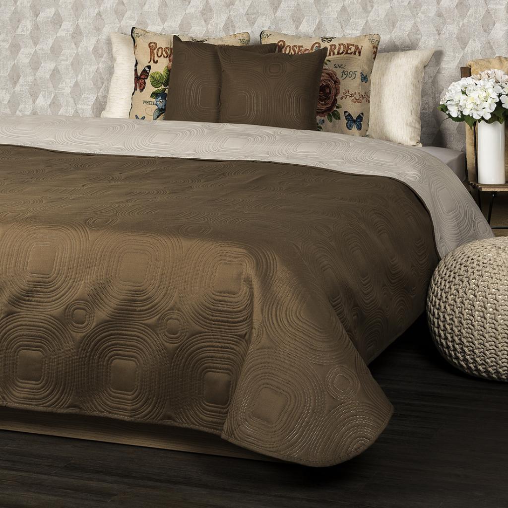 Produktové foto 4Home Přehoz na postel Doubleface tmavě hnědá/světle hnědá, 220 x 240 cm, 2x 40 x 40 cm