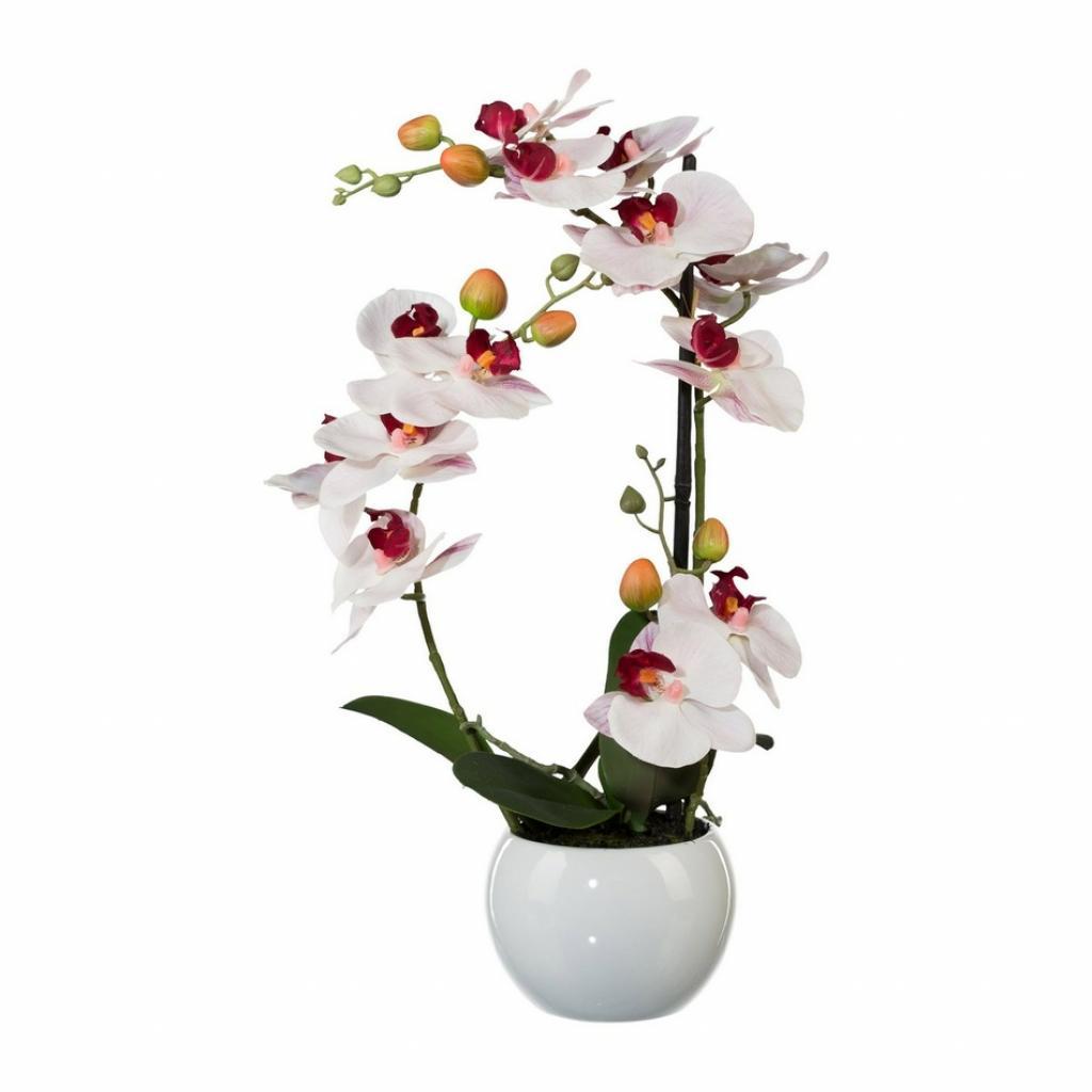 Produktové foto Umělá Orchidej v keramickém květináči bílá, 42 cm 1118033-10
