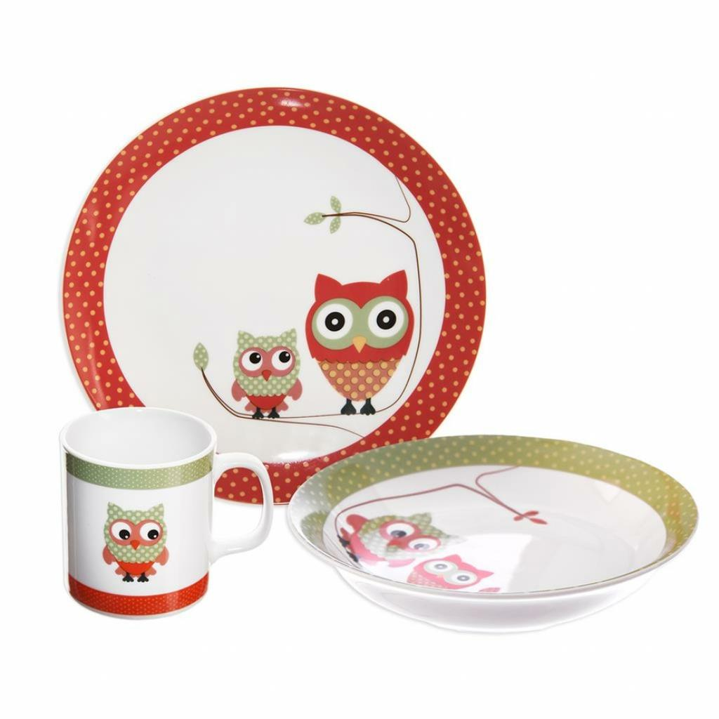 Produktové foto Orion 3dílná dětská jídelní sada Sova, porcelán