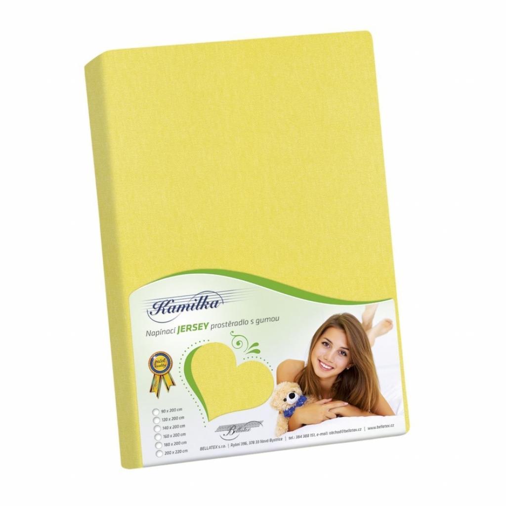 Produktové foto Bellatex Jersey prostěradlo Kamilka žlutá, 100 x 200 cm