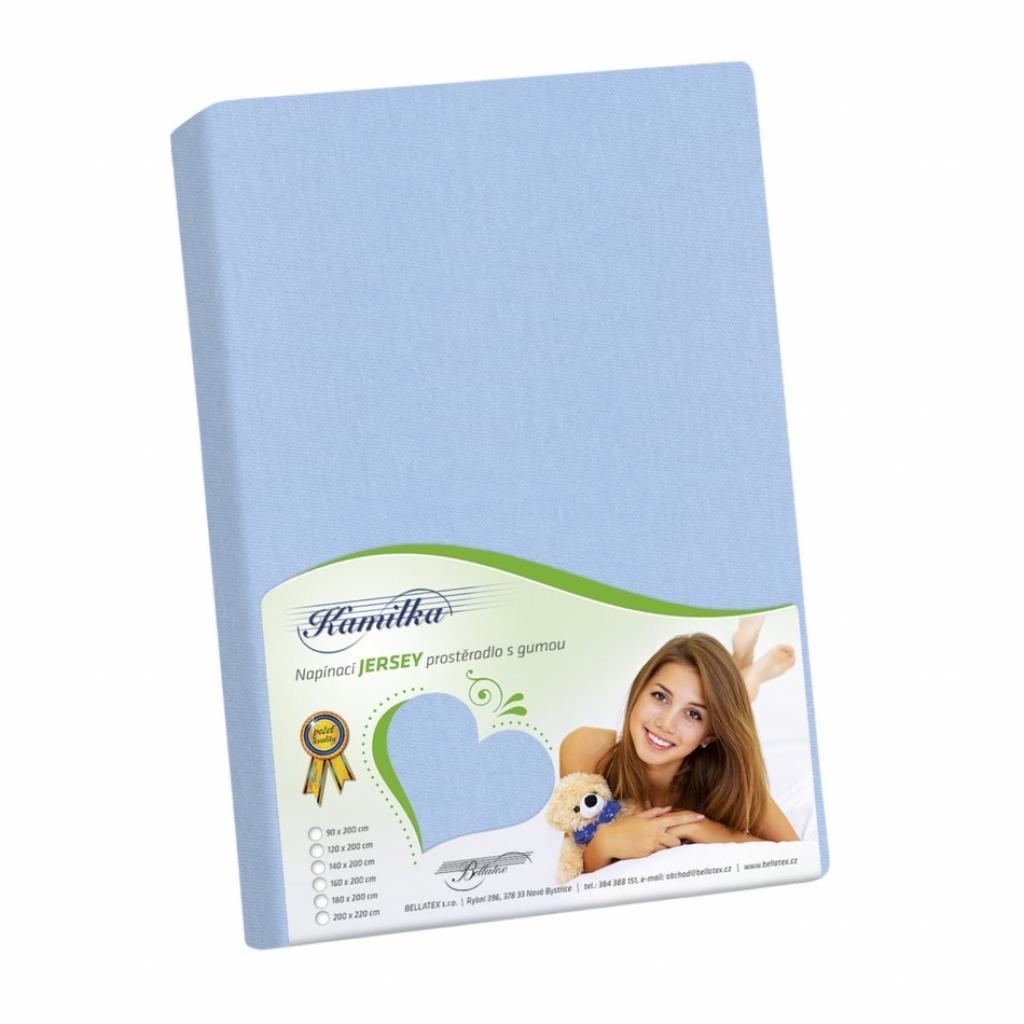 Produktové foto Bellatex Jersey prostěradlo Kamilka světle modrá, 200 x 220 cm