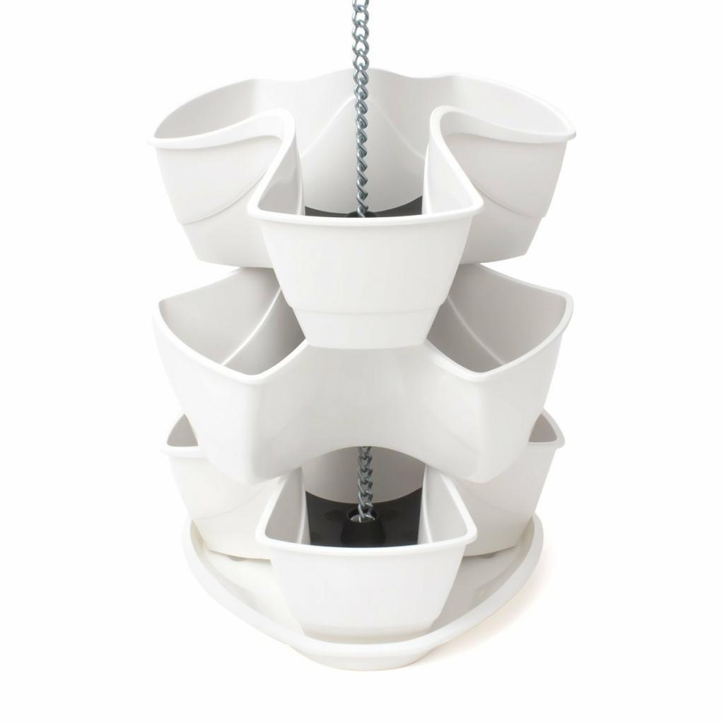 Produktové foto PROSPERPLAST COUBI kaskádový květináč 29,5x29,5x88cm, bílá DKN300W