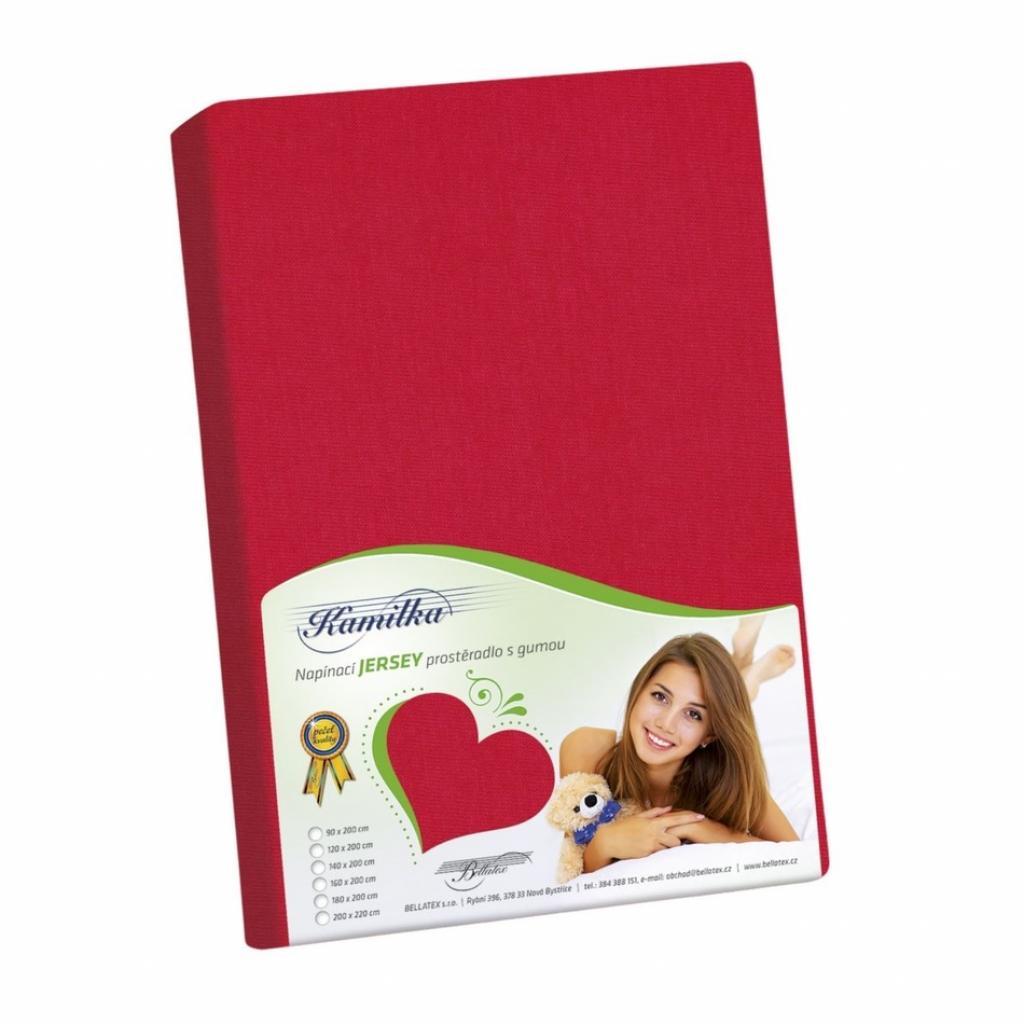 Produktové foto Bellatex Jersey prostěradlo Kamilka červená, 100 x 200 cm