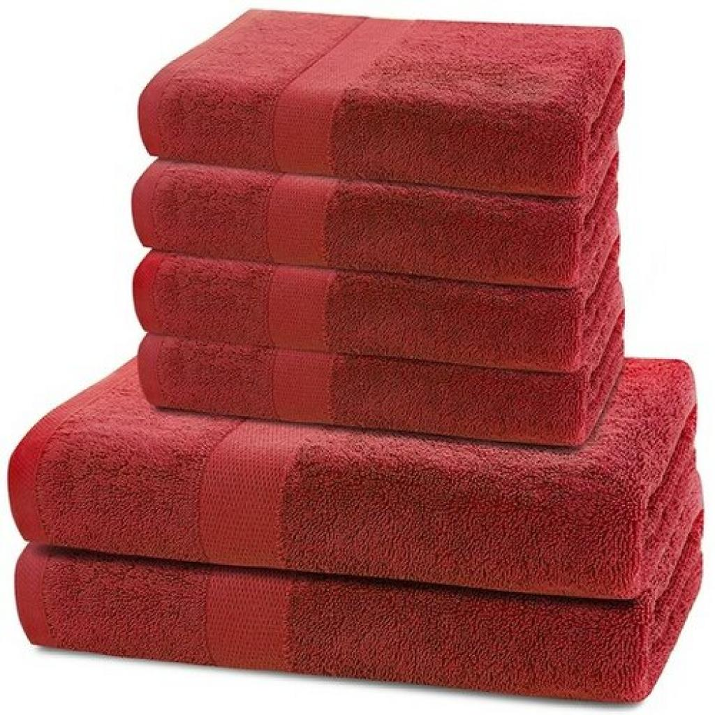 Produktové foto DecoKing Sada ručníků a osušek Marina červená, 4 ks 50 x 100 cm, 2 ks 70 x 140 cm