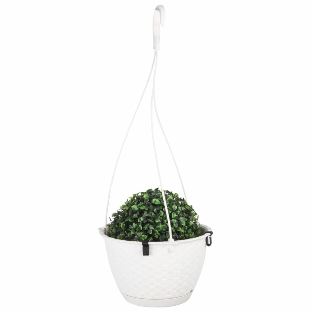 Produktové foto Nohel Garden Květník závěsný RATOLLA ROUND W plastový 22x14cm, bílá