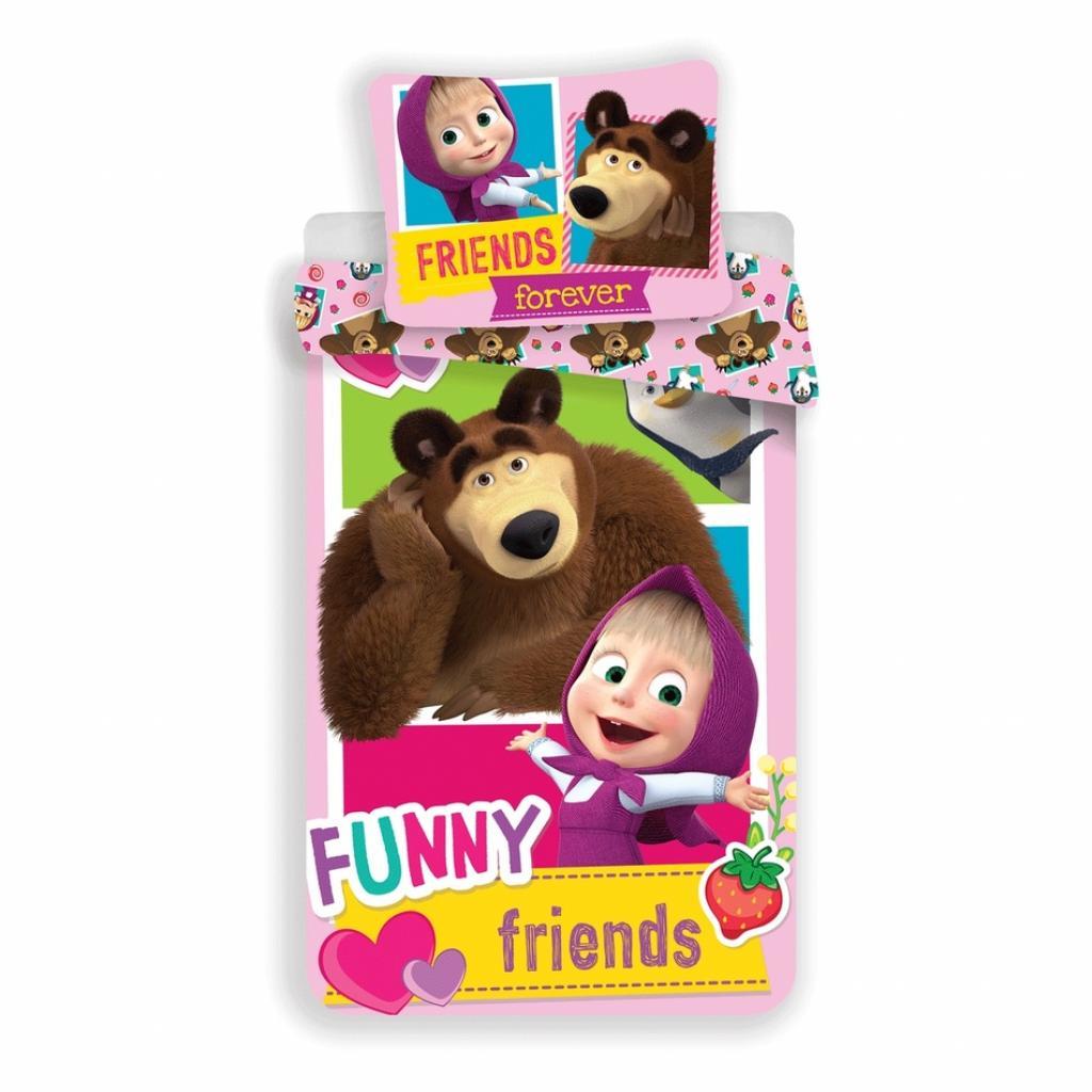 Produktové foto Jerry Fabrics Dětské bavlněné povlečení Máša a Medvěd Přátelé, 140 x 200, 70 x 90 cm