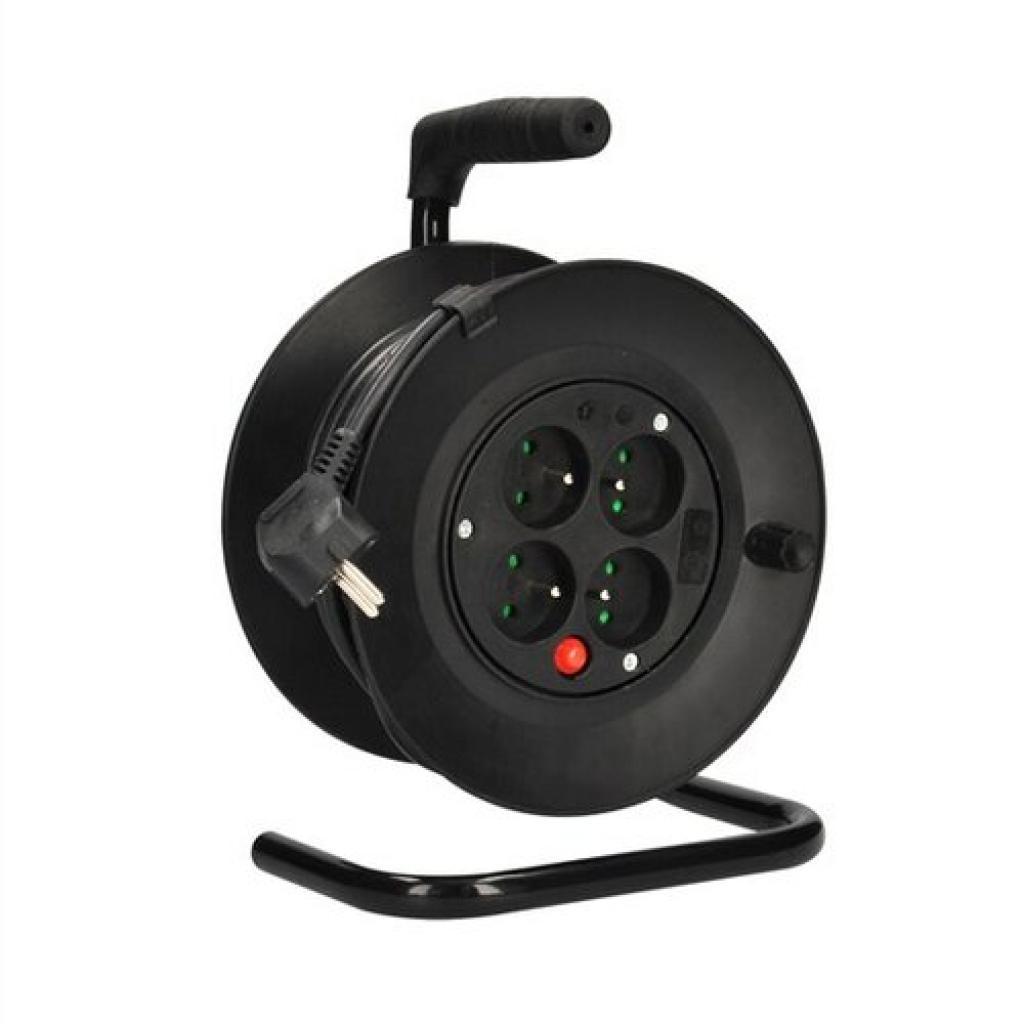 Produktové foto Solight prodlužovací přívod na bubnu, 4 zásuvky, černý kabel 3x 1,0mm2, 15m PB22