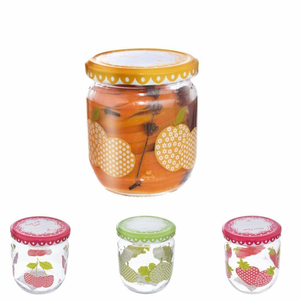 Produktové foto Orion 129710 Zavařovací sklenice s víčkem Sweet 425 ml, sada 4 ks, různý dekor