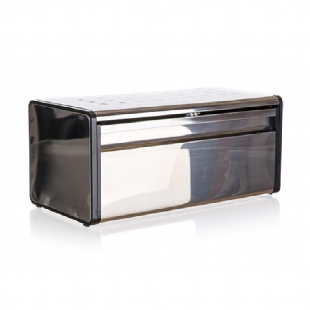 Produktové foto Banquet Chlebník nerezový QUADRA 39,5 x 20,5 x 18 cm, černý lem