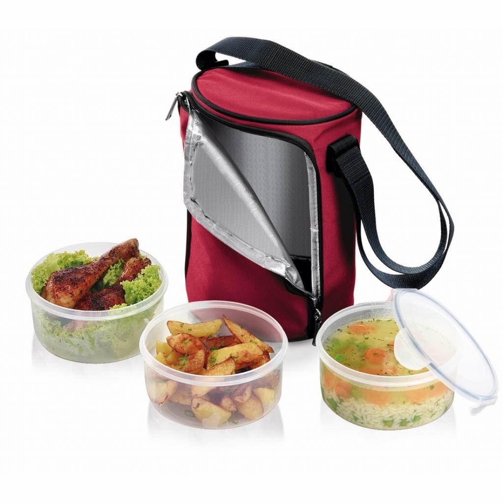 Produktové foto TESCOMA jídlonosič FRESHBOX, se 3 dózami 1.5 l, bordeaux, 1,5 l