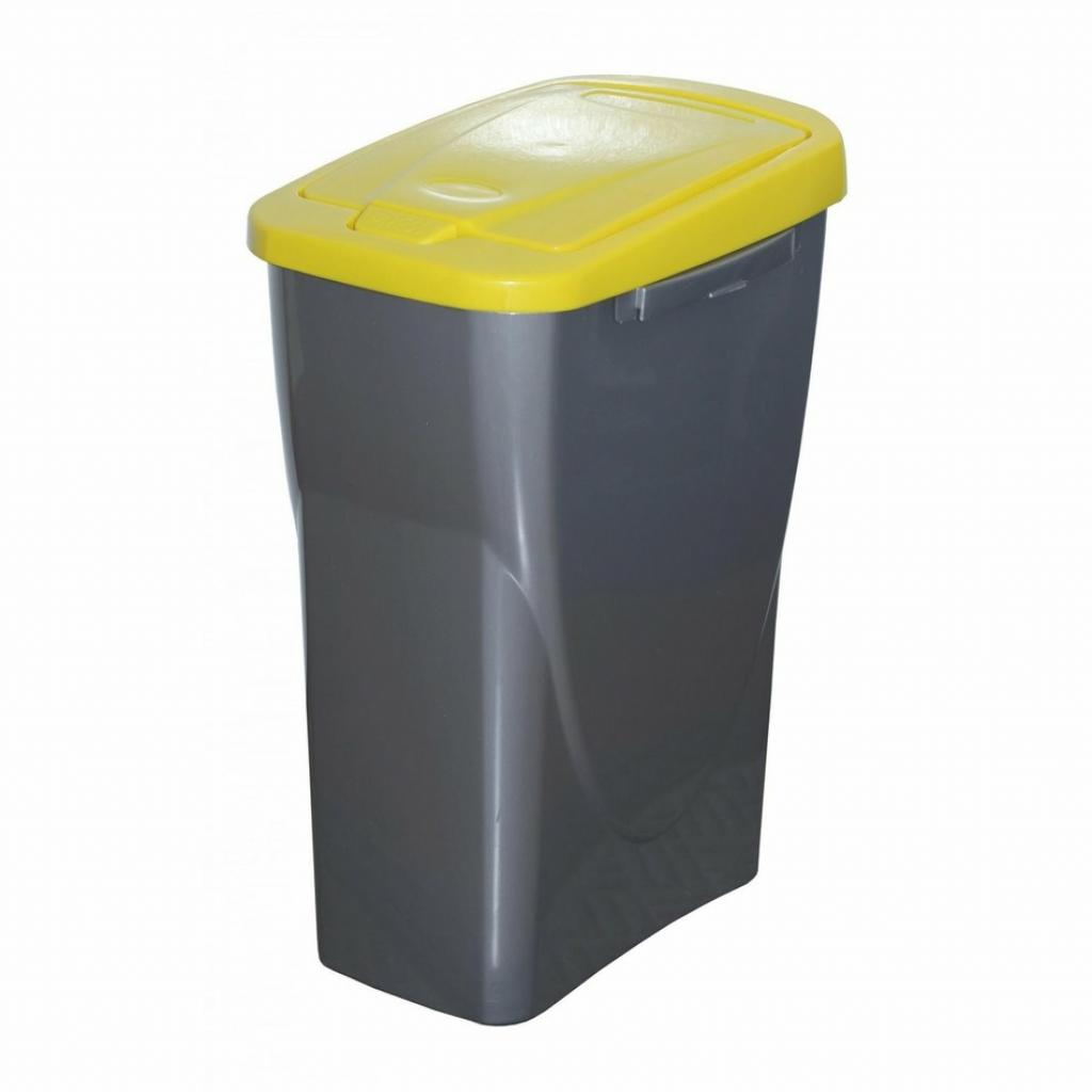 Produktové foto Koš na tříděný odpad žluté víko; 61,5 x 42 x 25 cm; 40 l; plast