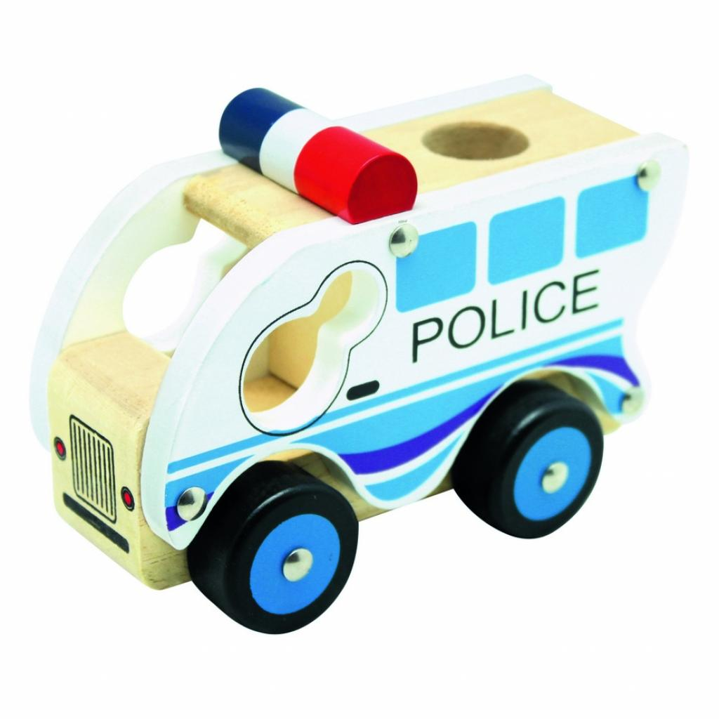 Produktové foto Bino Dřevěné auto Policie, modrá