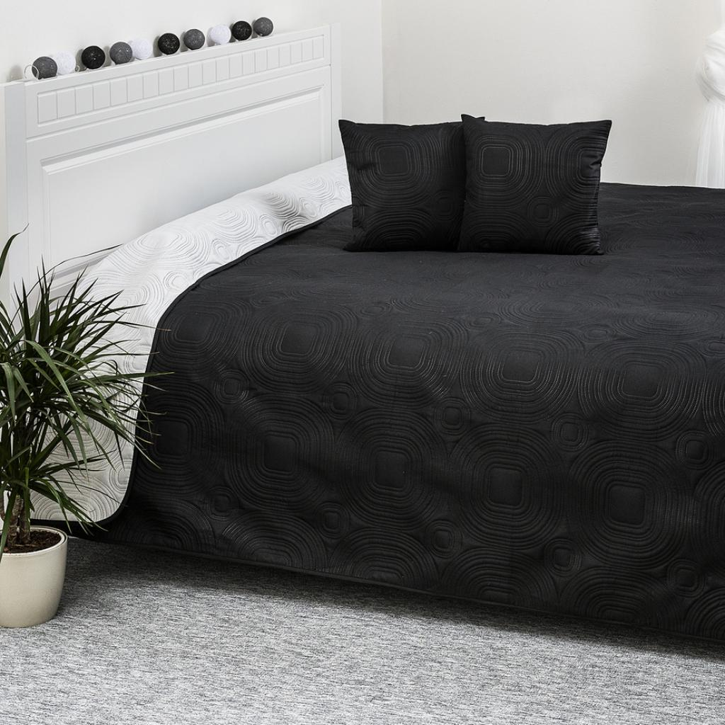Produktové foto 4Home Přehoz na postel Doubleface bílá/černá, 220 x 240 cm, 40 x 40 cm