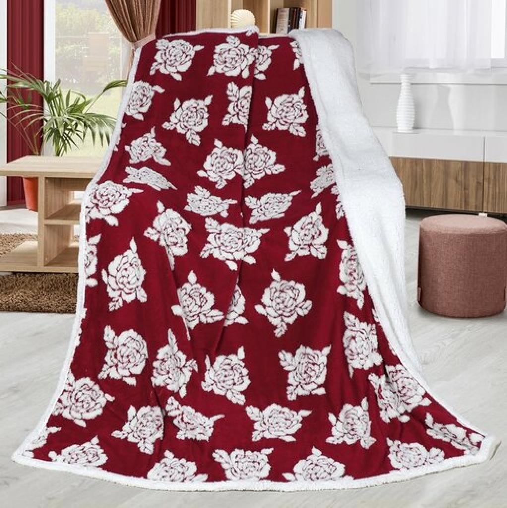 Produktové foto Bellatex Beránková deka Růže vínová, 150 x 200 cm