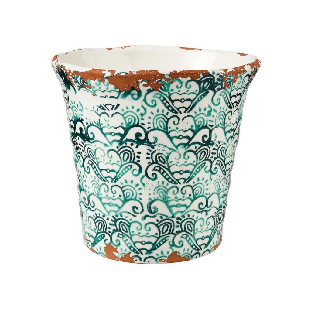 Produktové foto TERRACOTTA Květináč vzorovaný 14 cm - zelená