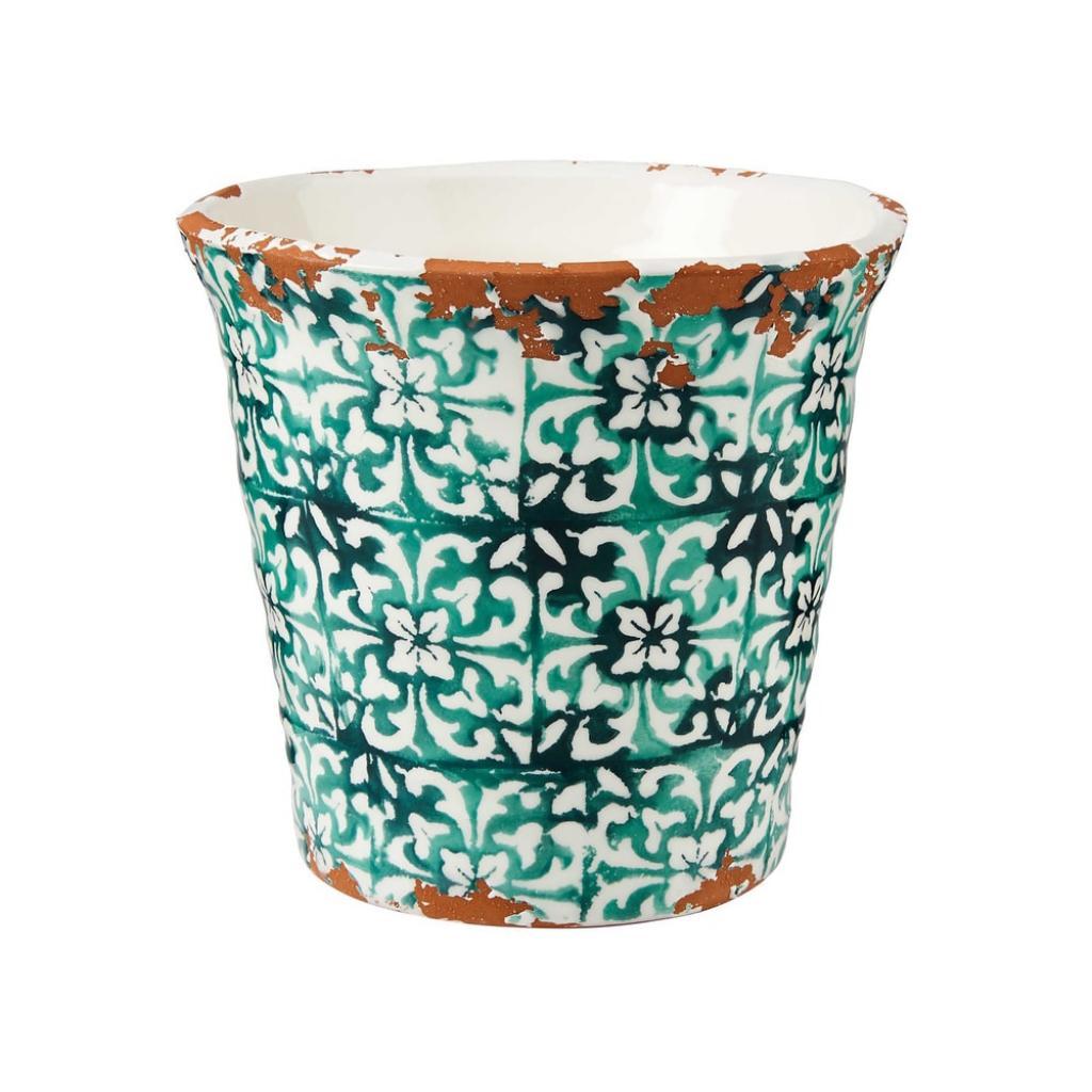 Produktové foto TERRACOTTA Květináč kachličkový vzor 14 cm - zelená