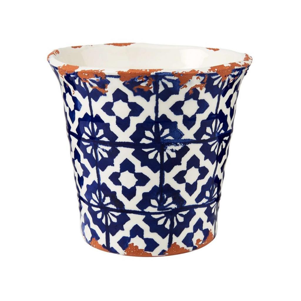 Produktové foto TERRACOTTA Květináč kachličkový vzor 14 cm - modrá